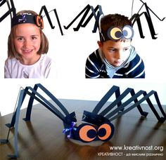 DIY Halloween - Spider hats for kids Theme Halloween, Easy Halloween, Holidays Halloween, Halloween Decorations, Halloween Crafts For Toddlers, Halloween Activities, Diy For Kids, Activities For Kids, Kids Crafts