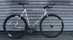 Premium Rush fixed gear parts breakdown    Frame| Affinity Metropolitan  Cranks| Sugino 75 crankset  Chainring| FSA 46t Chainring  Cog| All City  Hubs| Phil Wood  Rear Rim| H Plus Son  Front Rim| Velocity deep V  Saddle| Fizik Arione Saddle  Seat post| Thomson Post  Stem| Thomson  Headset| Chris King  Handlebars| Nitto Bullhorns