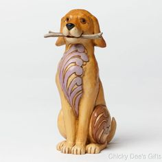 Jim Shore Heartwood Creek Dog w Stick 4045271 NEW