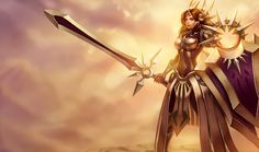 Leona   League of Legends Imbued with the fire of the sun, Leona is a warrior templar of the Solari who defends Mount Targon with her Zenith Blade and Shield of Daybreak. Her skin shimmers with starfire while her eyes burn with the power of the celestial Aspect within her. Armored in gold and bearing a terrible burden of ancient knowledge, Leona brings enlightenment to some, death to others.