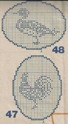 Pizzo ovale... Crochet Birds, Crochet Circles, Easter Crochet, Crochet Cross, Thread Crochet, Just Cross Stitch, Cross Stitch Charts, Cross Stitch Embroidery, Cross Stitch Patterns