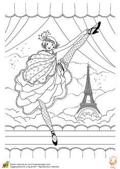 A colorier une fille dansant le French Cancan