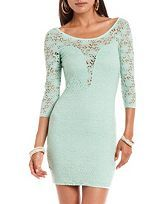 Lace Inset Textured Body-Con Dress: Charlotte Russe