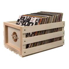 Crosley Record Storage Crate ($40) ❤ liked on Polyvore featuring home, home decor, small item storage, stackable storage crates, stackable crates, vinyl crate, record crate and stackable record crates