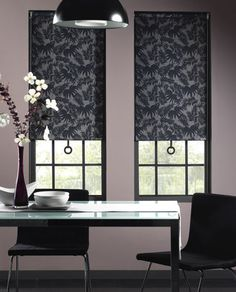 Roller blinds are a good solution for a contemporary dining area as they'll continue its sleek lines. It's a good idea to opt for a patterned design in this room, though, to give it some decorative interest.