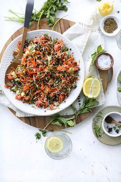 Spring lentil salad recipe recipes to try - lunch & dinner ф Lentil Salad Recipes, Salad Recipes Healthy Lunch, Salad Recipes Video, Salad Recipes For Dinner, Healthy Eating, Healthy Gourmet, Cucumber Recipes, Vegetarian Recipes, 21 Day Fix