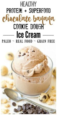 Paleo - (Ad) healthy Paleo Chocolate Banana Cookie Dough Ice Cream is super creamy and delicious, plus so easy to make. Its packed with protein and superfoods, chock-full of grain free cookie dough and extra chocolaty with a hint of banana and cinnamon. High Protein Desserts, Low Carb Dessert, Paleo Dessert, Healthy Dessert Recipes, Gluten Free Desserts, Real Food Recipes, Healthy Treats, Paleo Recipes, Eating Healthy