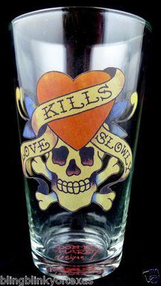 Ed Hardy Skull and Crossbones Love Kills Slowly Heart Tattoo Pint Beer Glass  BlingBlinky.com - FREE SHIPPING ...