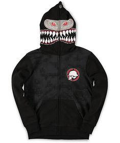 eb294b41 Free your ferocious side with a new Metal Mulisha boys Shark Bait black  full zip face mask hoodie. Scare your friends with the full zip up shark  teeth and ...