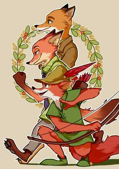 Foxes ~ Fantastic Mr. Fox ~ Nick Wilde ~ Robín Hoot ~ Zootopia