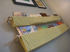 nursery book sling- Sophia's room doesn't have enough room for a full bookshelf. Book Sling, Grey Yellow Nursery, Spearmint Baby, Kids Room Organization, Organizing Toys, Book Holders, Ideas Hogar, Kid Spaces, Small Spaces