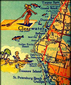 CLEARWATER DUNEDIN retro Florida map print 20x20