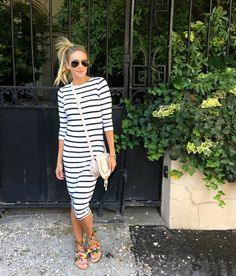 SALE SALE SALE! Great midi striped dress and pom pom sandals.