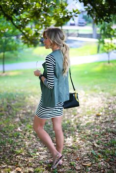 Happily Grey | WOLF and BADGER | http://www.happilygrey.com striped dress and green vest