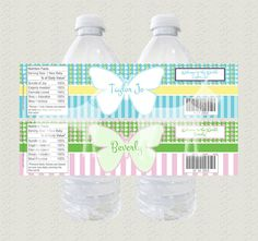 Butterfly Flowers by Personalized Water Bottle Labels, Butterfly Flowers, Purple, Pink, Aqua, Parties, Facts, Joy, Holidays