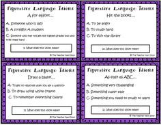 Freebie! Set of 32 task cards with Back to School Idioms. Great tool to teach figurative language.
