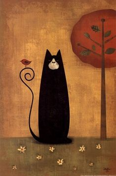 Black cat with bird illustration Image Chat, Illustration Art, Illustrations, Gatos Cats, Photo Chat, Primitive Folk Art, Primitive Painting, Cat Drawing, Whimsical Art