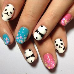 All the credits... | Webstagram Creative Nail Designs, Pretty Nail Designs, Colorful Nail Designs, Creative Nails, Nail Art Designs, Panda Nail Art, Animal Nail Art, Love Nails, Pretty Nails