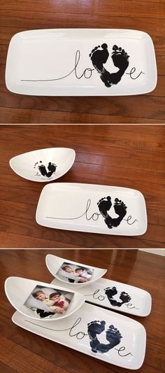"""DIY Footprint """"LOVE"""" dishes - perfect handmade gift for Valentine's day or Mother's Day!"""