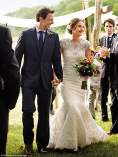 May 1, 2013: Saturday Night Live star Seth Meyers married his longtime girlfriend Alexi Ashe on Martha's Vineyard in MA. She wore a custom-made Caroline Herrara cap-sleeve lace gown.