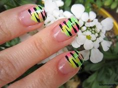 Wild Tiger Stripe Neon French Tip Nail Art Tutorial