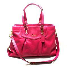 Amazon.com: Coach Ashley Leather Carryall Handbag/ Shoulder Bag Magenta (Pink) #19243: Clothing