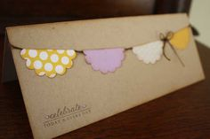 Birthday card or Wedding card - Celebrate Banner, handmade, rustic lavender and yellow coloring. $4.00, via Etsy.