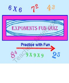 Exponents Powerpoint Fun Quiz from DayWorks on TeachersNotebook.com (47 pages)