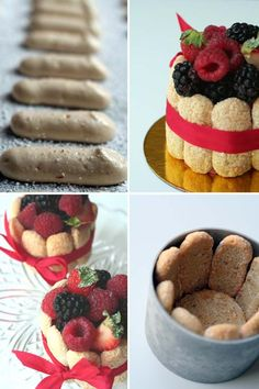 Summer Berry Charlotte via Cannelle et Vanille Mini Desserts, Sweet Desserts, Delicious Desserts, Yummy Food, Mini Cakes, Cupcake Cakes, Charlotte Cake, Cake Recipes, Dessert Recipes