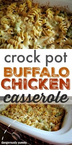 How to make a delicious, crowd-pleasing, Buffalo Chicken casserole in your crock pot! Potluck Dishes, Potluck Recipes, Pasta Dishes, Casserole Recipes, Potluck Themes, Potluck Meals, Dinner Recipes, Freezer Meals, Drink Recipes