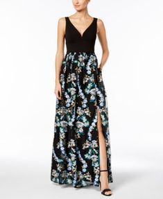 Embroidered Mesh Gown | macys.com