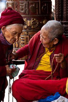 Los budistas tibetanos en Boudhanath, Katmandú.