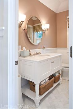 Pretty bathroom vanity with white marble top - Lewis and Weldon Custom Kitchens Marble Top, White Marble, Custom Kitchens, Custom Cabinetry, Bath Design, Beautiful Bathrooms, Kitchen And Bath, Master Bath, Projects