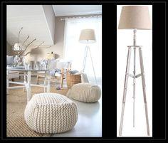 Lámpara de suelo acabada en madera blanca natural. Su base con un diseño de trípode la convierte en elemento decorativo y de iluminación que se adapta a cualquier estilo de casa. http://www.originalhouse.info/