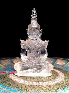 482.3 CT. Natural Quartz Shakyamuni Buddha Statue Carved Amulet No Reserved LP #HandCarved