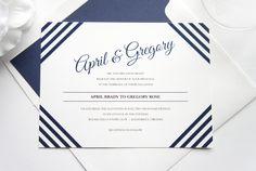 Blue Striped Wedding Invitation, Modern Wedding Invitation - DEPOSIT