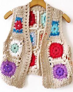 Crochet à la main Vintage 1970 ' s carrés Granny lumineux