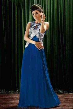 Crepe Designer Party Wear Gown in Blue Colour