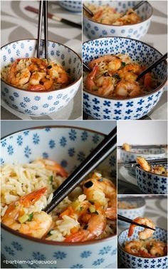 Basmati rice sauteed with vegetables, prawns, ginger and soy - Basmati rice sauteed with vegetables, prawns, ginger and soy – Barbie Magica Cuoca – cooking blo - Asian Recipes, Healthy Recipes, Ethnic Recipes, Cena Light, Happy Foods, Light Recipes, International Recipes, Risotto, Food Inspiration