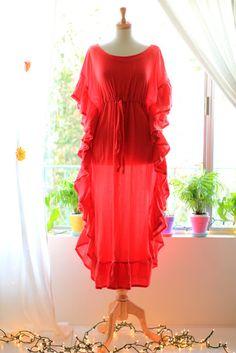 Red Ruffle Maxi Caftan by Mademoiselle Mermaid. African Prom Dresses, African Dress, Motif Abaya, Indian Designer Outfits, Designer Dresses, Stylish Dresses, Fashion Dresses, Wedding Night Lingerie, Maxi Kaftan