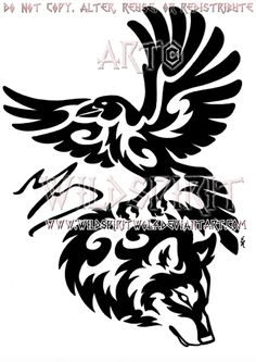 Tribal Raven And Wolf
