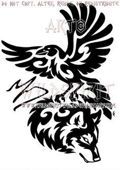 Tribal Raven And Wolf Memorial Design by WildSpiritWolf on deviantART