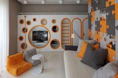 white-sofa-with-black-grey-and-orange-cushions-in-kids-room-875x581.jpg (875×581)