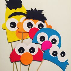 sesame street photo booth props/ masks. so cute for child's birthday!