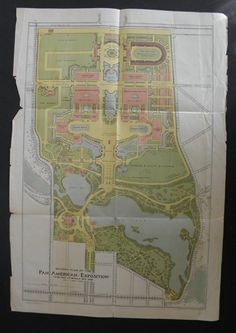1901 PAN AMERICAN EXPOSITION REVISED PLAN MAP BUFFALO NEW YORK GIES & CO LITHO