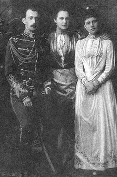 """Possibly an engagement photo of the Grand Dukd Pavel Alexandrovich Romanov of Russia with fiancé,Princess Alexandra of the Hellenes and his future mother-in-law,Queen Olga of the Hellenes,who was born the Grand Duchess Olga Konstantinovna Romanova of Russia.  """"AL"""""""