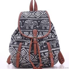 Wow~ Awesome Leisure Elephant School Rucksack For Girl Totem Canvas Bag College…