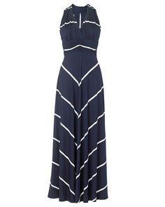 Phase Eight Striped Maxi Dress, Navy/Ivory Mode Outfits, Fashion Outfits, Womens Fashion, Fashion Purses, Dress Fashion, Dress Skirt, Dress Up, Navy Dress, Dress Long