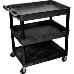 Luxor Large Tub Top and Middle and Flat Bottom Shelf Cart, Black