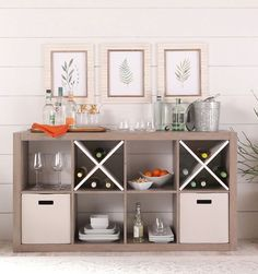 9 Phenomenal Best Etsy Shops For Home Decor Creative And Inexpensive Ideas.Wooden Home Decor 8-Cube Organizer in Rustic Gray #entertaining #bar #wine #organization #storage